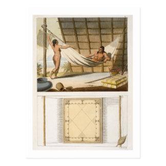 Escena interior que representa a los indios tarjeta postal