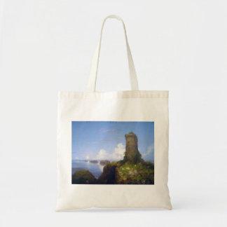 Escena italiana de la costa con la torre arruinada bolsa de mano