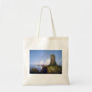 Escena italiana de la costa con la torre arruinada bolsa lienzo