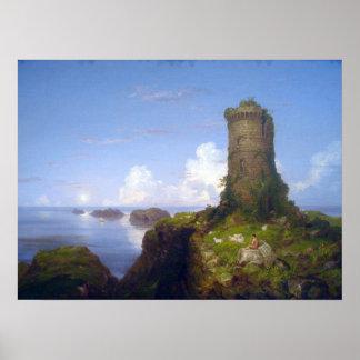 Escena italiana de la costa con la torre arruinada poster