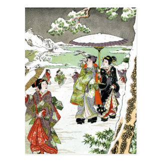 Escena japonesa del invierno postal
