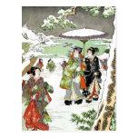 Escena japonesa del invierno postales