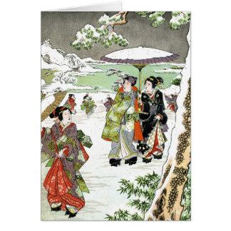 Escena japonesa del invierno tarjeta de felicitación