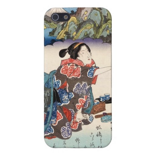 Escena japonesa fresca de la montaña de la señora  iPhone 5 funda