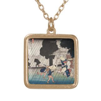 Escena japonesa fresca del día lluvioso del ukiyo- grimpola