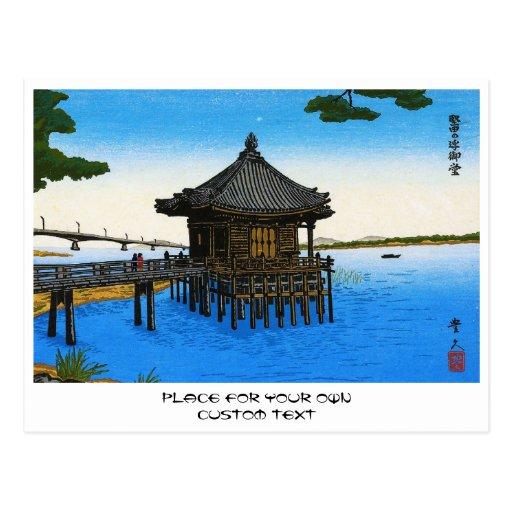 Escena japonesa fresca del templo de la capilla de tarjetas postales