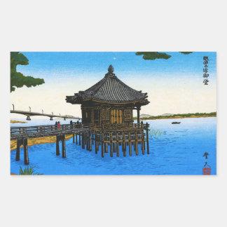 Escena japonesa fresca del templo de la capilla pegatina rectangular