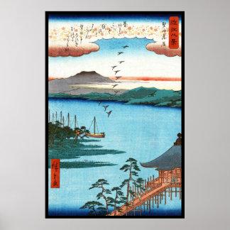 Escena japonesa fresca del waterscape del mar del  poster
