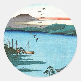 Escena japonesa fresca del waterscape del mar del pegatina redonda