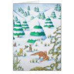 escena linda de la nieve del navidad del zorro y felicitación