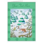 escena linda de la nieve del navidad del zorro y tarjeton