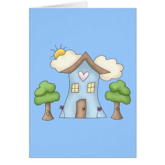 Escena linda del árbol de la casa de campo del dib tarjeta de felicitación