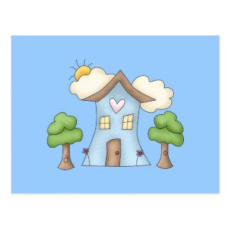 Escena linda del árbol de la casa de campo del dib tarjeta postal