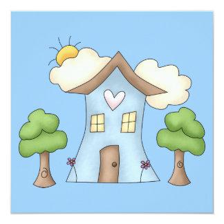 """Escena linda del árbol de la casa de campo del invitación 5.25"""" x 5.25"""""""