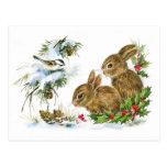 Escena linda del navidad de los conejos del vintag tarjetas postales