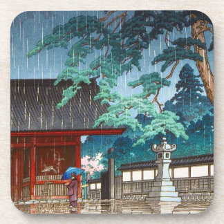 Escena lluviosa oriental fresca de Hasui Kawase de Posavasos De Bebida