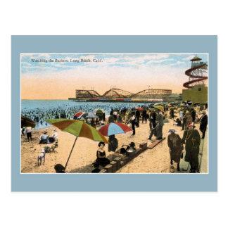 Escena Long Beach CA de la playa del vintage c Postales