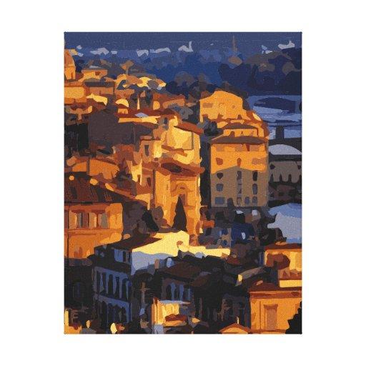 Escena magnífica de la puesta del sol de Florencia Lona Envuelta Para Galerias