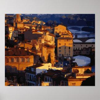 Escena magnífica de la puesta del sol de Florencia Impresiones