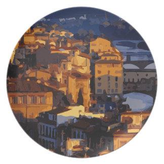 Escena magnífica de la puesta del sol de Florencia Plato De Cena