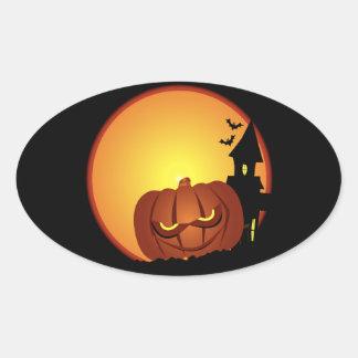 Escena malvada de la calabaza de Halloween Pegatina Ovalada