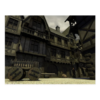 Escena medieval de la calle - 2 postales