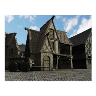 Escena medieval de la calle - 3 tarjetas postales