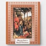 Escena medieval del pesebre placas con fotos