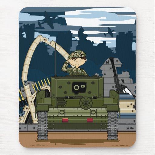 Escena Mousepad del soldado y del tanque del ejérc