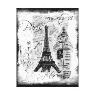 Escena negra y blanca de la torre Eiffel de París  Lona Envuelta Para Galerías