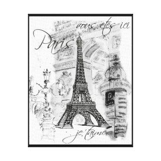 Escena negra y blanca de la torre Eiffel de París Impresión De Lienzo