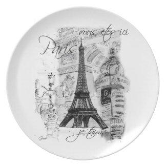 Escena negra y blanca de la torre Eiffel de París Platos Para Fiestas