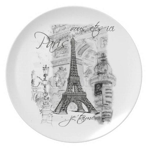 Escena negra y blanca de la torre Eiffel de París Platos