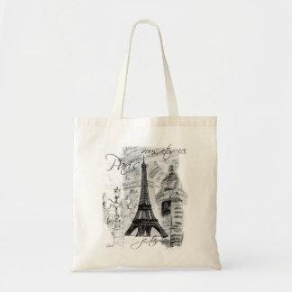 Escena negra y blanca de París de la calle con la  Bolsas De Mano