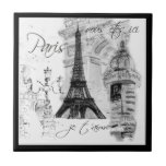 Escena negra y blanca de París de la torre Eiffel  Teja Ceramica