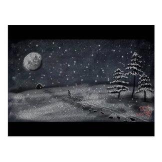 escena nevosa pacífica de la pizarra de la noche postales