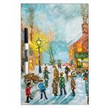 Escena ocupada de la calle de la nieve del pueblo pizarras blancas de calidad