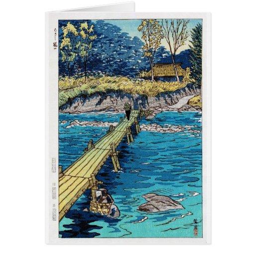 Escena oriental fresca del puente de Shiro Kasamat Felicitaciones