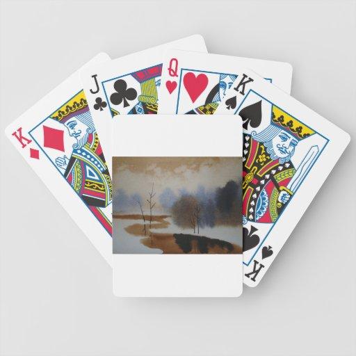 Escena pacífica de la nieve del invierno de la acu barajas de cartas