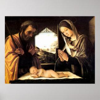 Escena para el navidad - familia santa, costa de posters