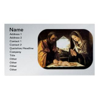 Escena para el navidad - familia santa, costa de tarjetas de visita