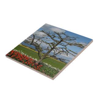 Escena pastoral azulejo cuadrado pequeño