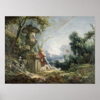 Escena pastoral, o pastor joven en un paisaje póster