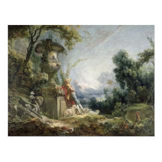 Escena pastoral o pastor joven en un paisaje tarjeta postal