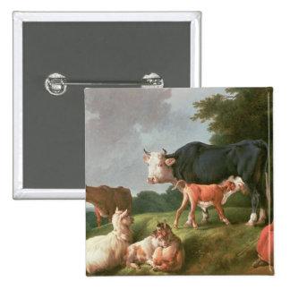 Escena pastoral pin cuadrado