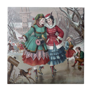 Escena patinadora del invierno del vintage azulejo cuadrado pequeño