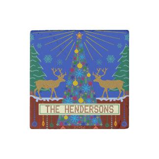 Escena personalizada del árbol de navidad del reno imán de piedra