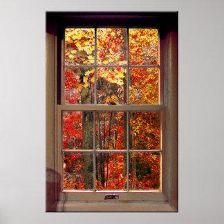 Escena portátil del OTOÑO de la ventana Poster