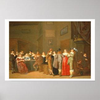 Escena que corteja, 1644 (aceite en lona) póster