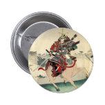Escena que lucha del samurai japonés pin